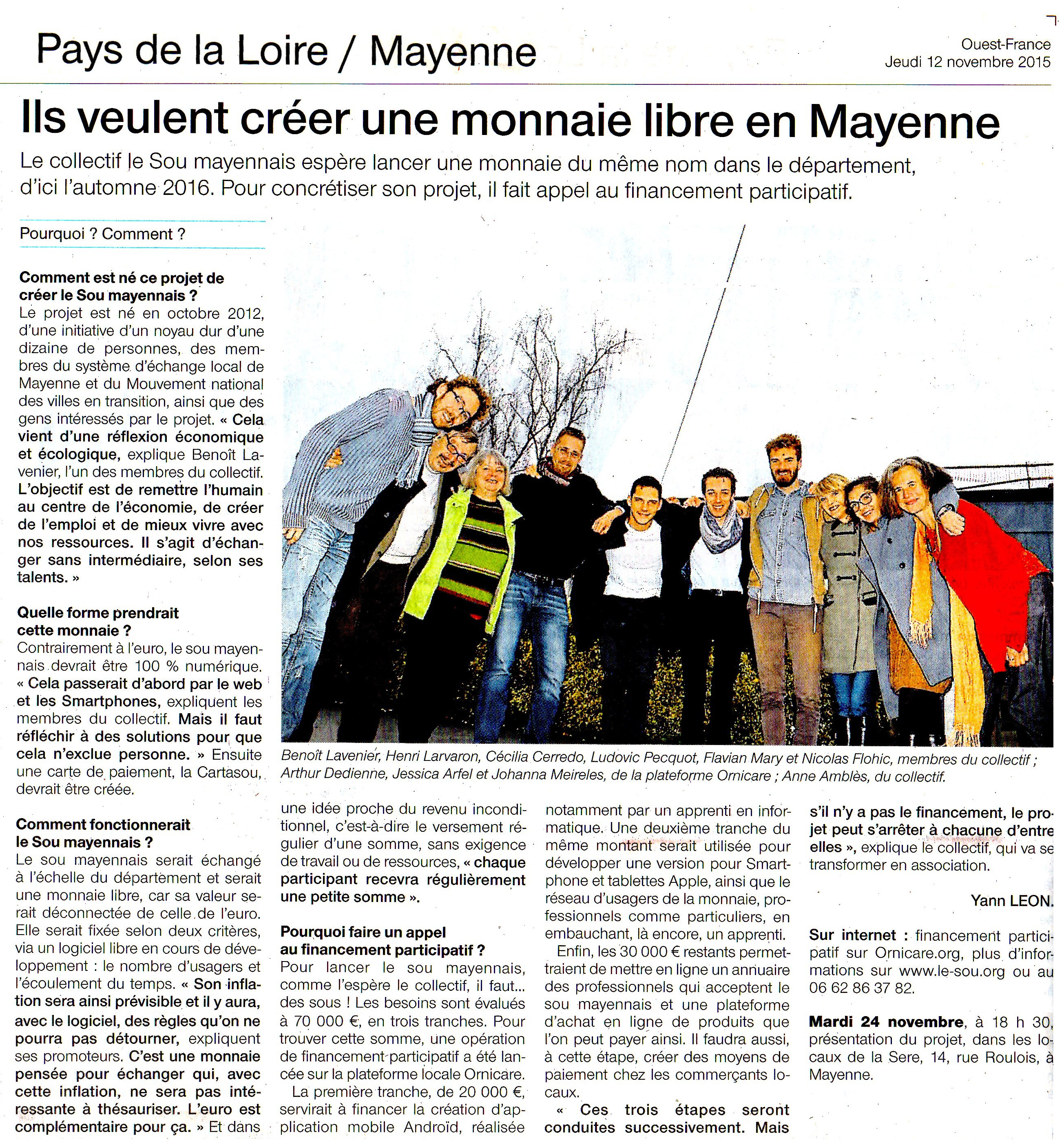 Article Ouest-France du 12/11/15