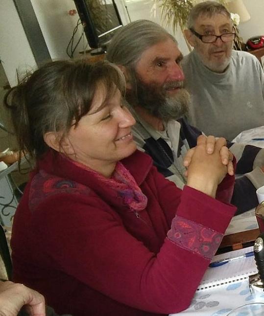 Lucia, le jour de son inscription ; Michel, et Henri qui nous l'amena.